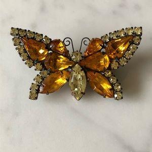 🌵 Vintage Rhinestone Butterfly Brooch